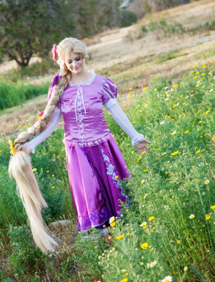 Rapunzel in the meadow at an Orange County photo shoot