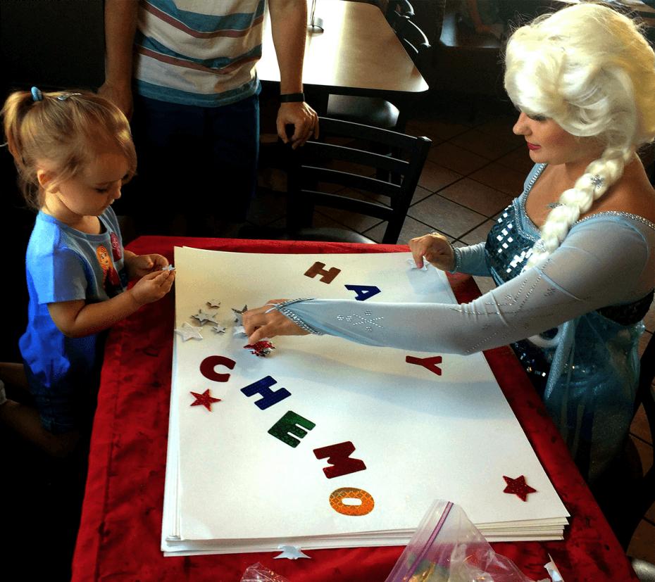 Queen Elsa visiting kids at CHOC