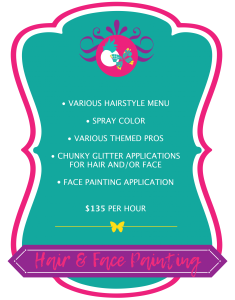 Hair & Face Painting Pricing Graphic