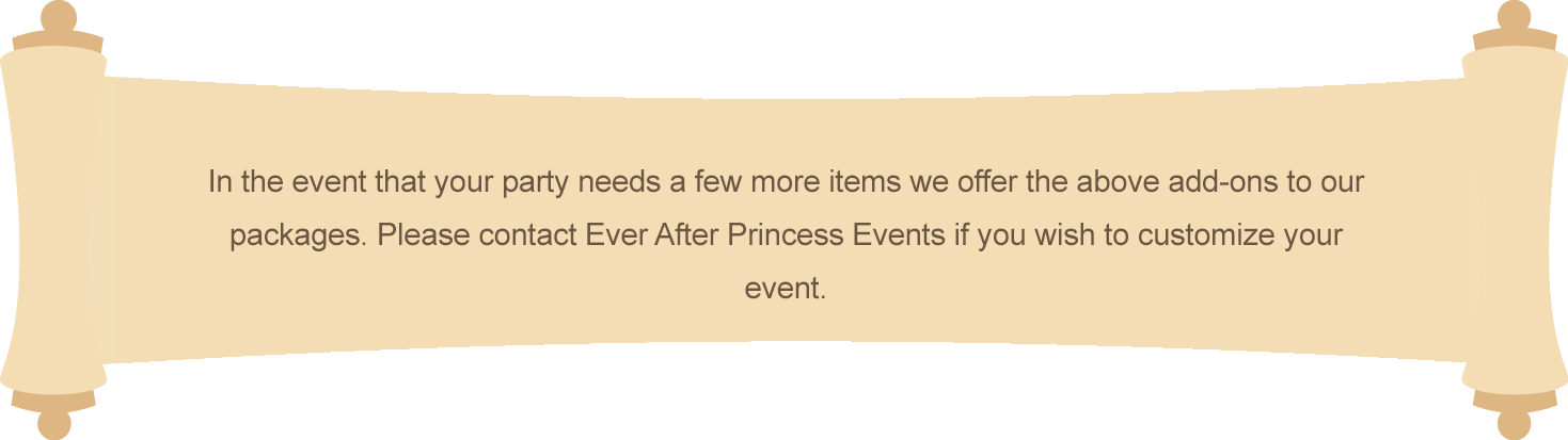 Princess party events add-ons in Orange County